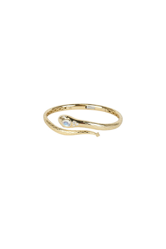 Temple St. Clair Yellow Gold Sergent Hinged Cuff Bracelet