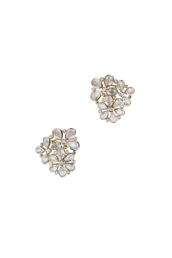 Temple St. Clair 18K Yellow Gold Flower Cluster Earrings
