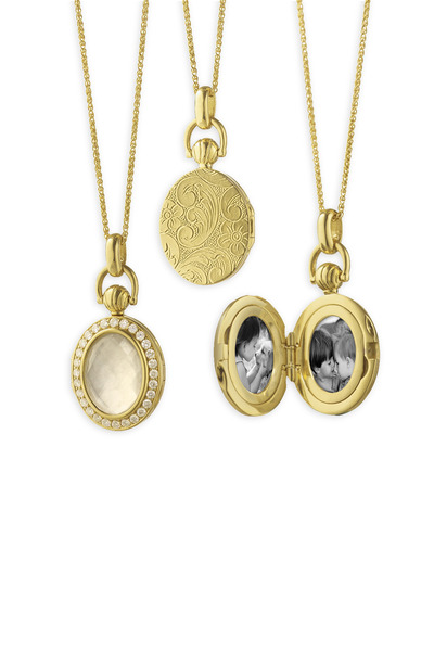 Monica Rich Kosann - Yellow Gold Quartz & Diamond Petite Locket
