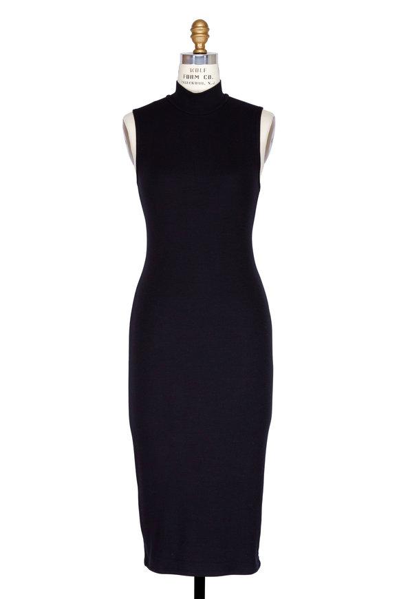 A T M Black Ribbed Modal Mock Neck Sleeveless Dress