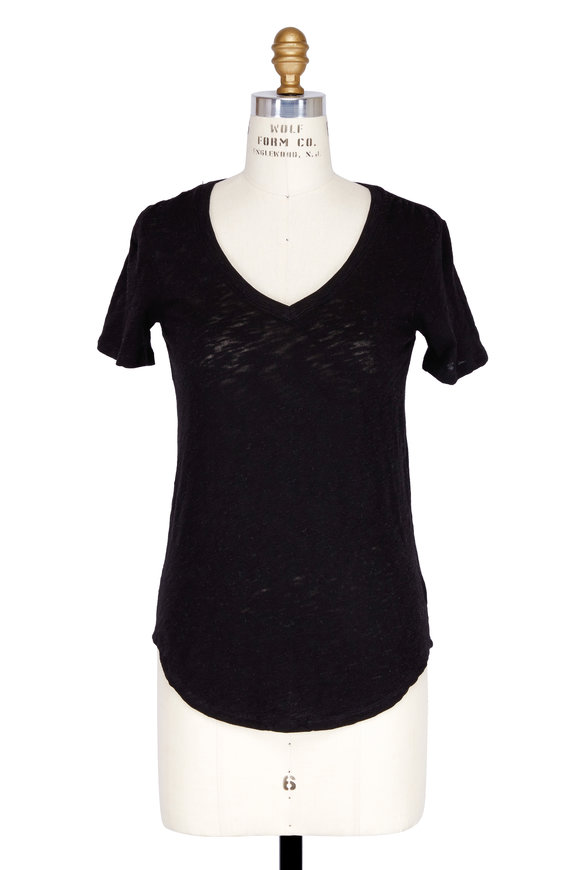 A T M Black Slub Cotton Short Sleeve V-Neck T-Shirt