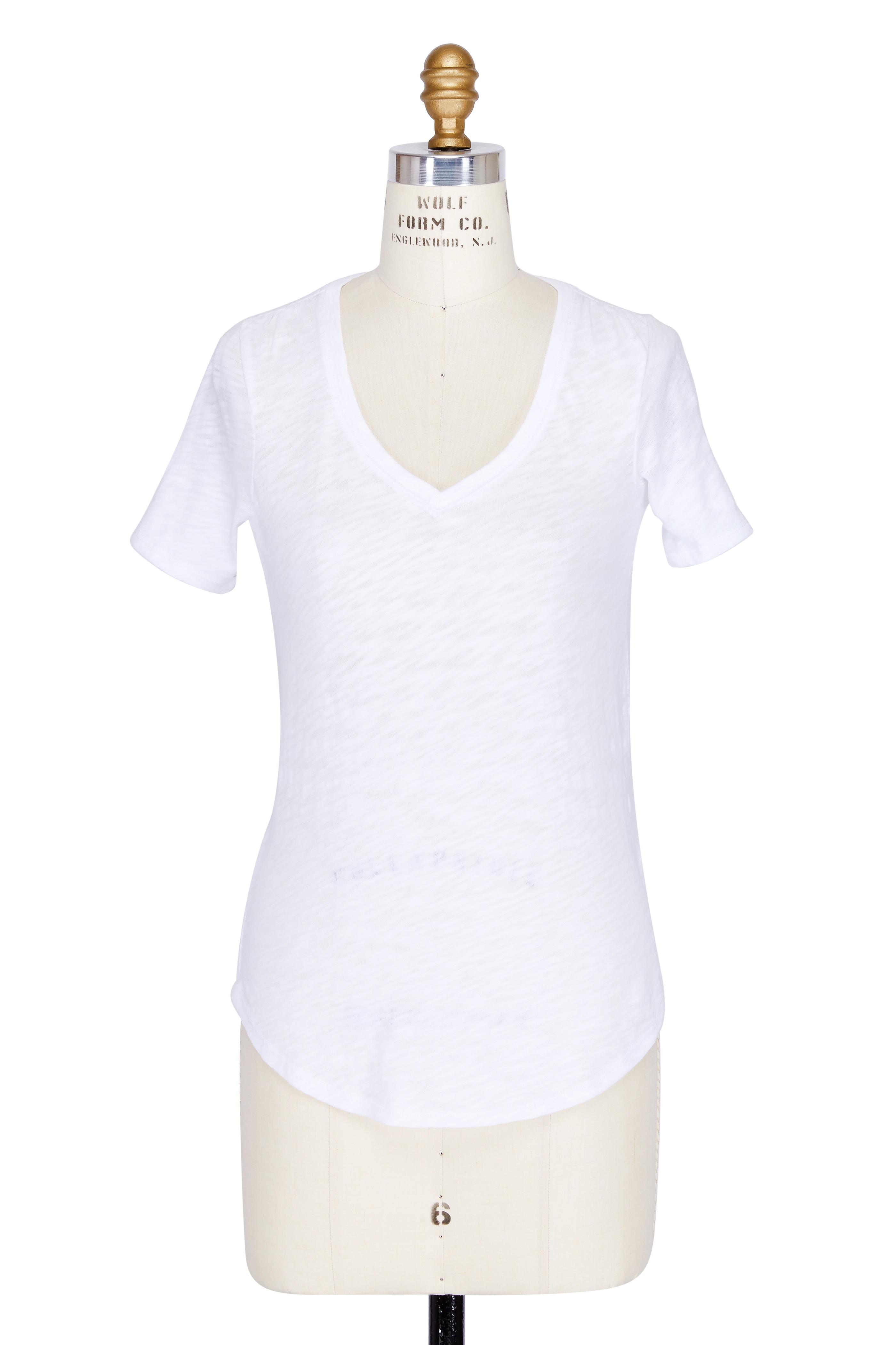 de69a1d2 A T M - White Slub Cotton Short Sleeve V-Neck T-Shirt | Mitchell Stores