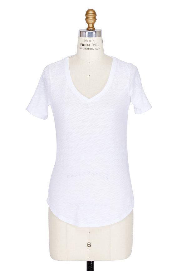 A T M White Slub Cotton Short Sleeve V-Neck T-Shirt