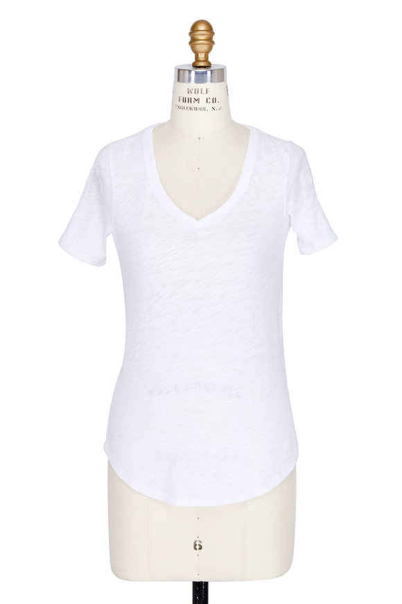 A T M White Slub Cotton Short Sleeve V-Neck T-Shirt
