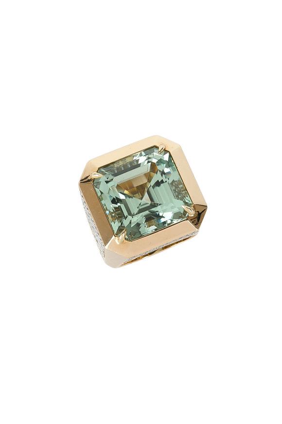 Paolo Costagli 18K Yellow Gold Green Tourmaline & Diamond Ring