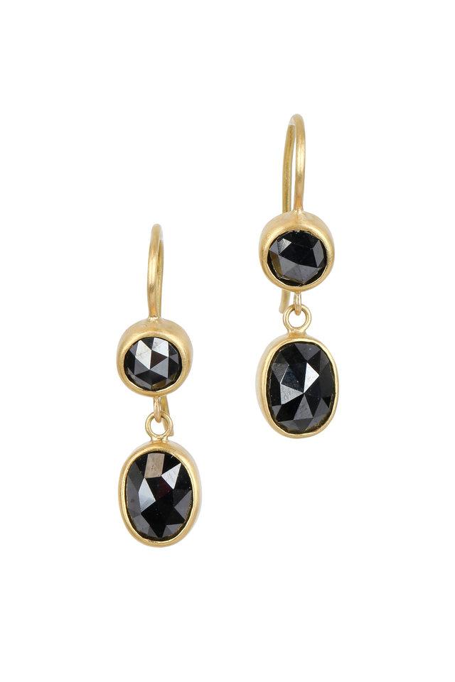 22K Yellow Gold Black Diamond Drop Earrings