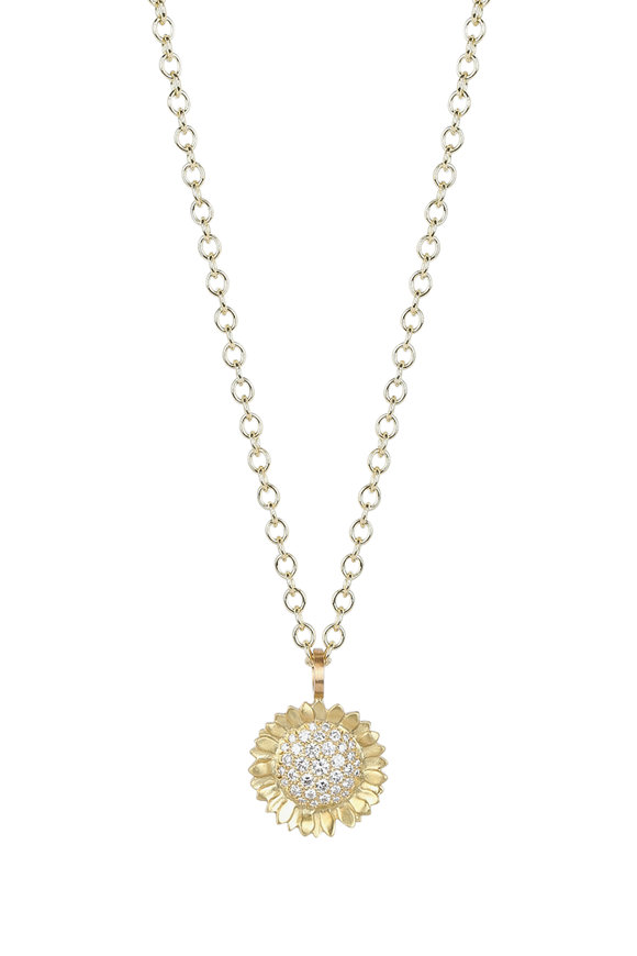 Caroline Ellen 20K Yellow Gold Diamond Sunflower Pendant Necklace