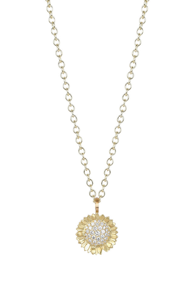 20K Yellow Gold Diamond Sunflower Pendant Necklace