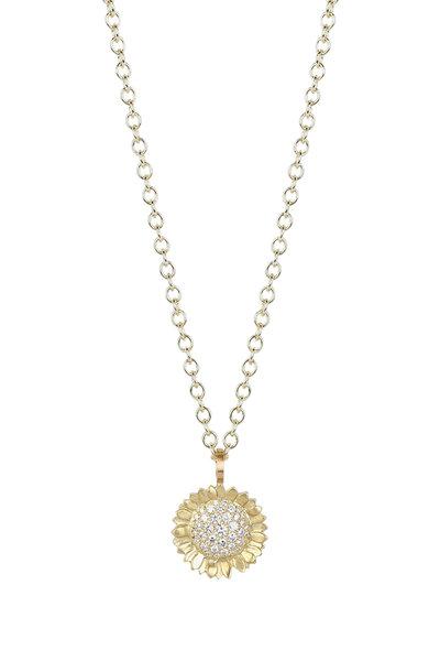 Caroline Ellen - 20K Yellow Gold Diamond Sunflower Pendant Necklace