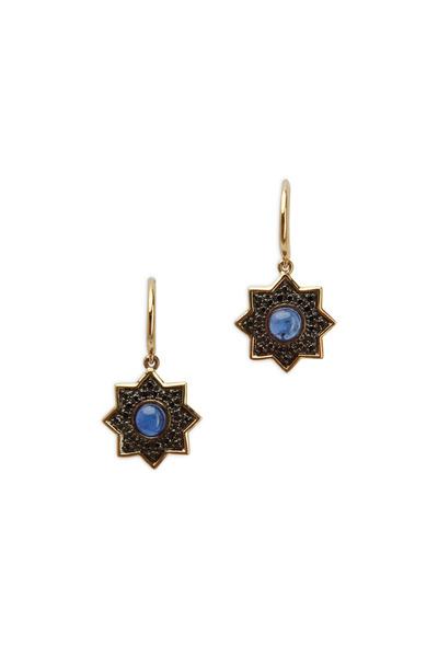 Syna - Taara Blue Sapphire & Black Diamond Earrings