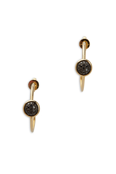 Syna - Yellow Gold Black Diamond Chakra Hoop Earrings