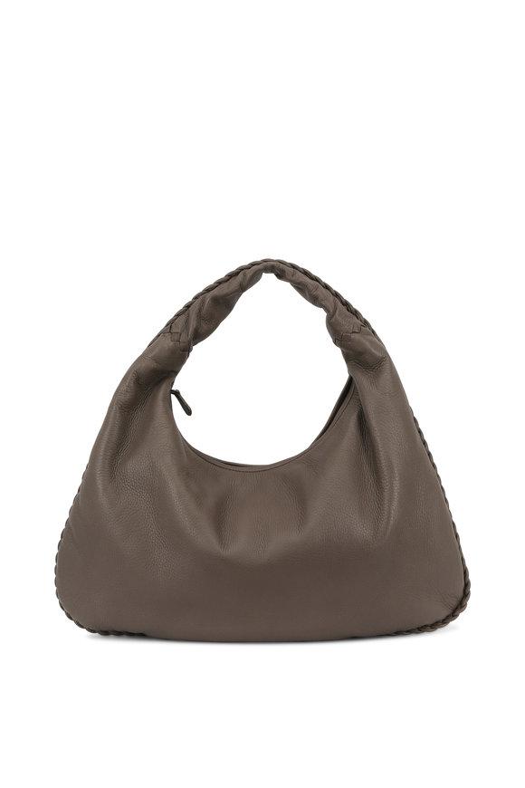 Bottega Veneta Veneta Dark Steel Leather Large Hobo Bag