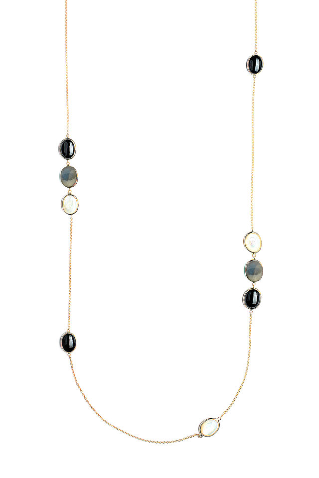 Yellow Gold Cobblestone Station Necklace