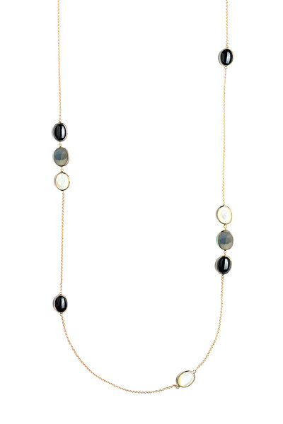 Syna - Yellow Gold Cobblestone Station Necklace