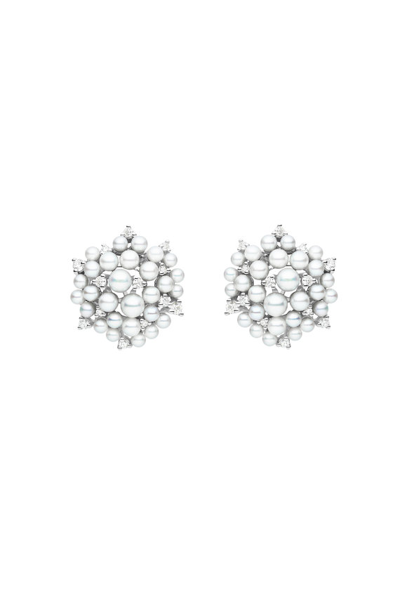 Paul Morelli 18K White Gold Pearl & Diamond Cluster Studs