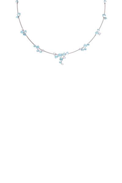 Paul Morelli - 18K White Gold Aquamarine & Diamond Necklace