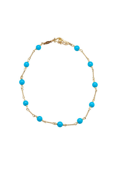 Paul Morelli - 18K Yellow Gold Turquoise Bead Bracelet