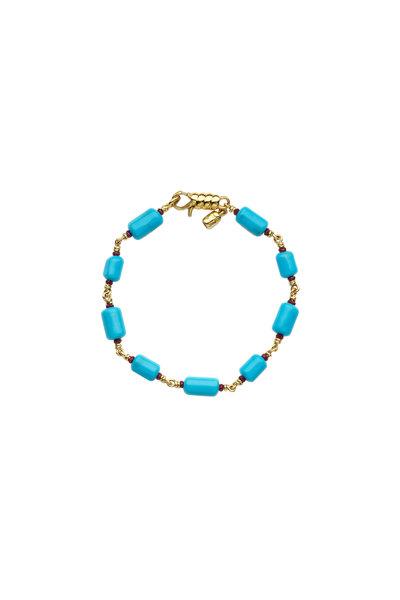 Paul Morelli - 18K Yellow Gold Turquoise & Ruby Bracelet