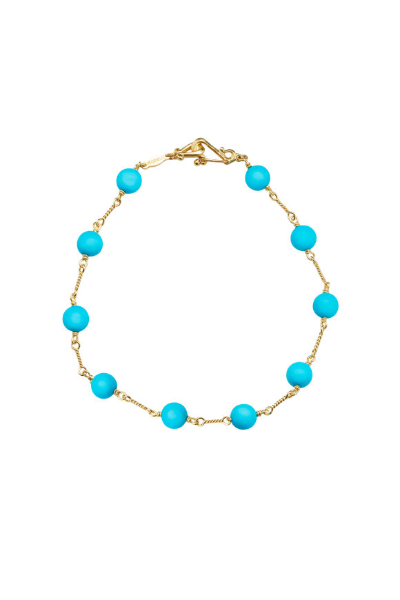 Paul Morelli 18K Yellow Gold Turquoise Bead Bracelet