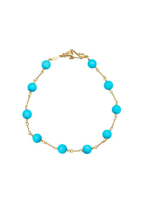 Paul Morelli 18K Yellow Gold Turquoise Bead Bracelet