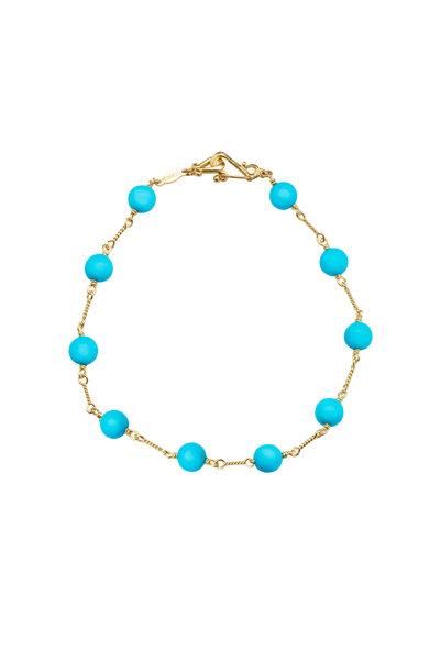 Paul Morelli - 18K Yellow Gold Turquoise Bead Bracelet