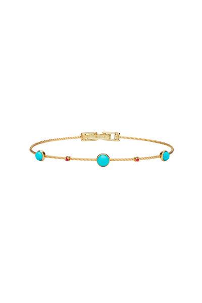 Paul Morelli - 18K Yellow Gold Ruby & Turquoise Bracelet