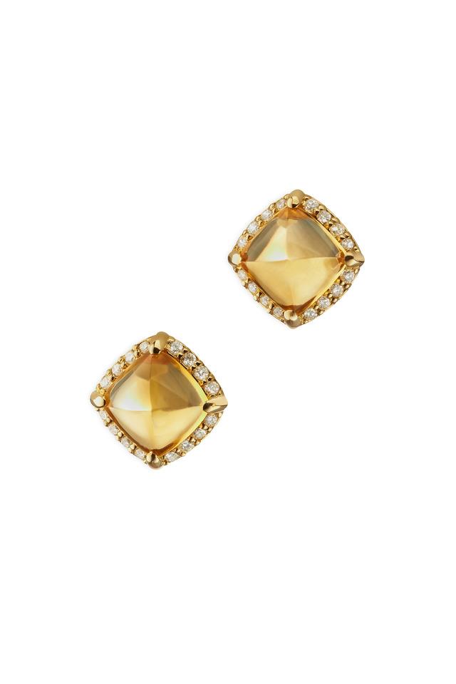 Gold Sugarloaf Citrine Diamond Stud Earrings
