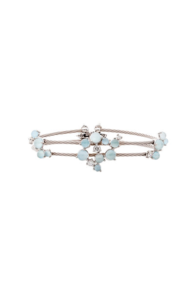 Paul Morelli - White Gold Aquamarine & Diamond Wire Bracelet