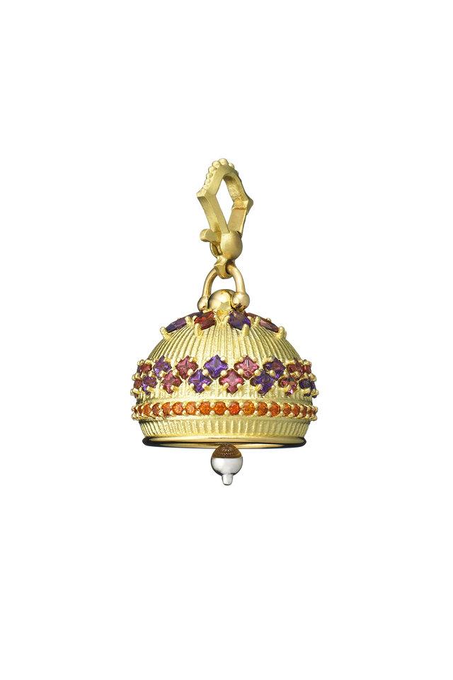 18K Gold Amethyst, Spessartite & Rhodolite Pendant