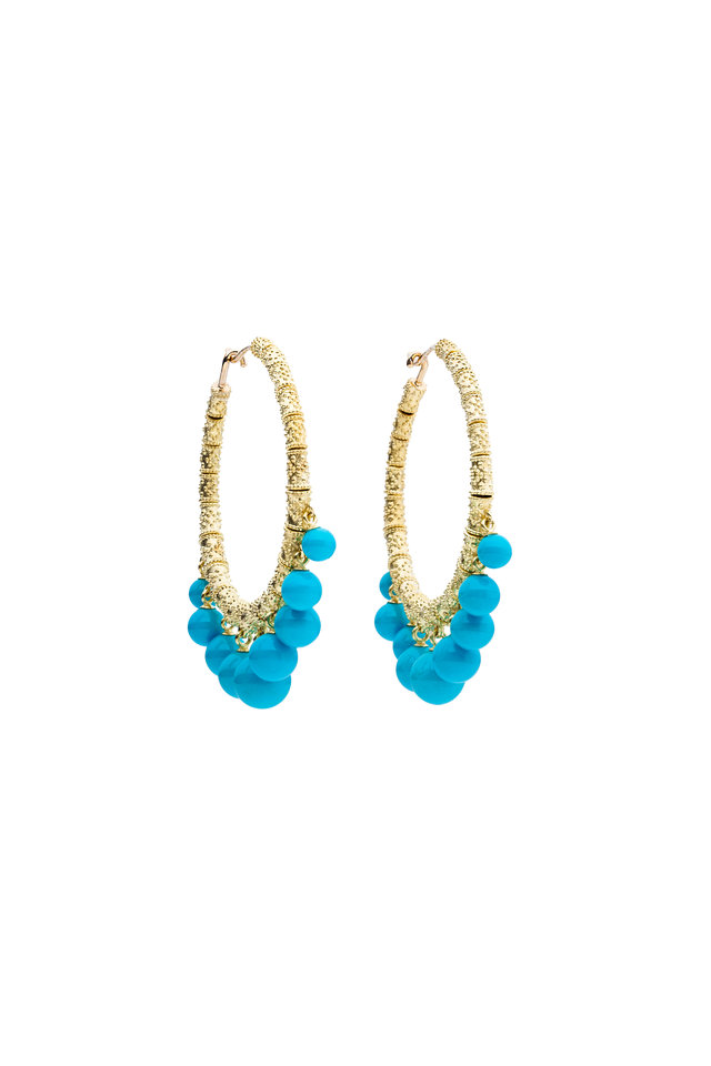 18K Yellow Gold Turquoise Gypsy Hoops