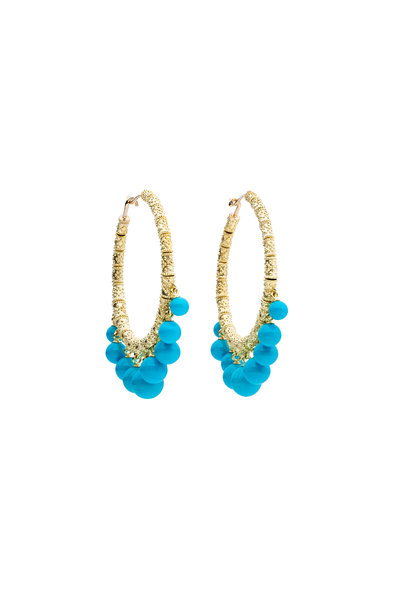 Paul Morelli - 18K Yellow Gold Turquoise Gypsy Hoops