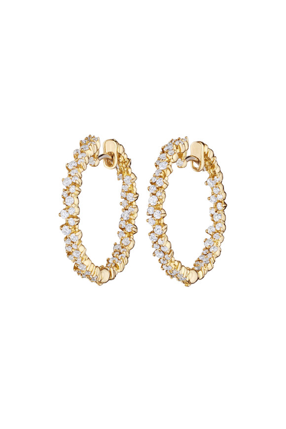 Paul Morelli 18K Yellow Gold Diamond Confetti Hoops