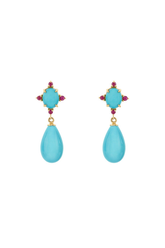 Paul Morelli 18K Yellow Gold Turquoise & Ruby Drop Earrings
