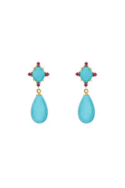 Paul Morelli - 18K Yellow Gold Turquoise & Ruby Drop Earrings