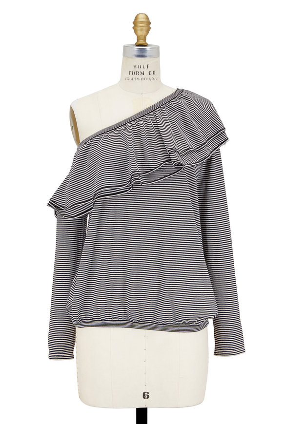 Brunello Cucinelli Black & White Striped Ruffled One-Shoulder Sweater