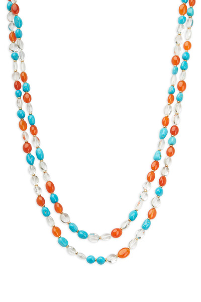 Syna - Yellow Gold Multi Color Bead Necklace