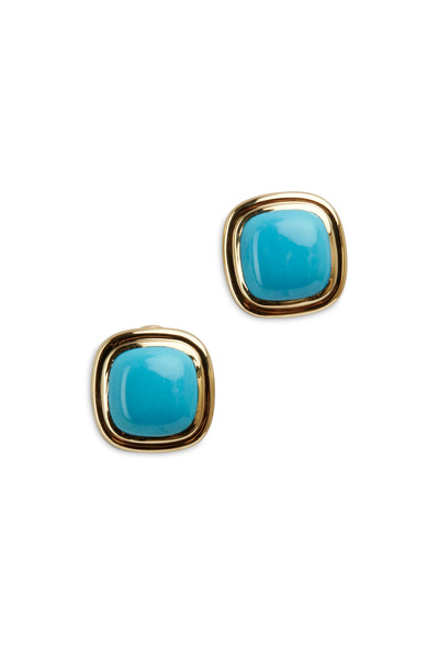 Syna - Yellow Gold Double Bezel Turquoise Earrings