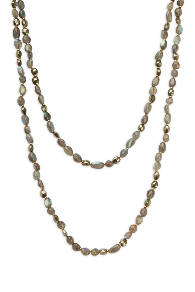 18K Yellow Gold Labradorite & Pyrite Bead Necklace