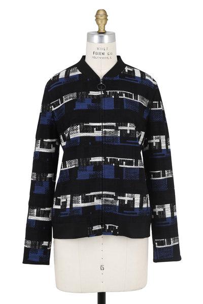 Akris Punto - Denim Blue Modern Tweed Zip Front Jacket