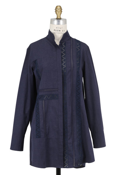 Akris Punto - Navy Blue Lace Embroidered Tunic
