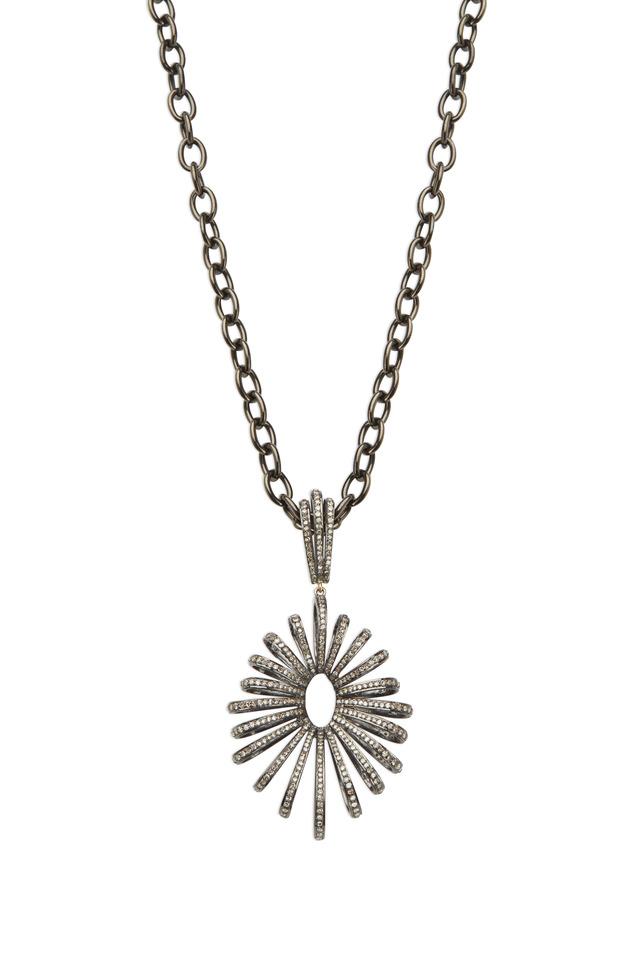 Rhodium Spiral Burst White Diamond Pendant