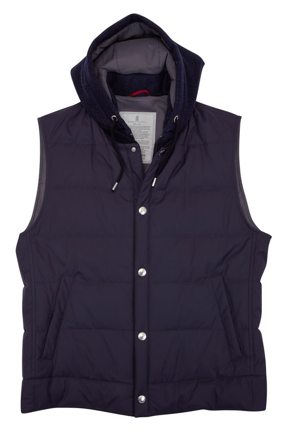 Brunello Cucinelli Ink Waterproof Quilted Down Hooded Vest