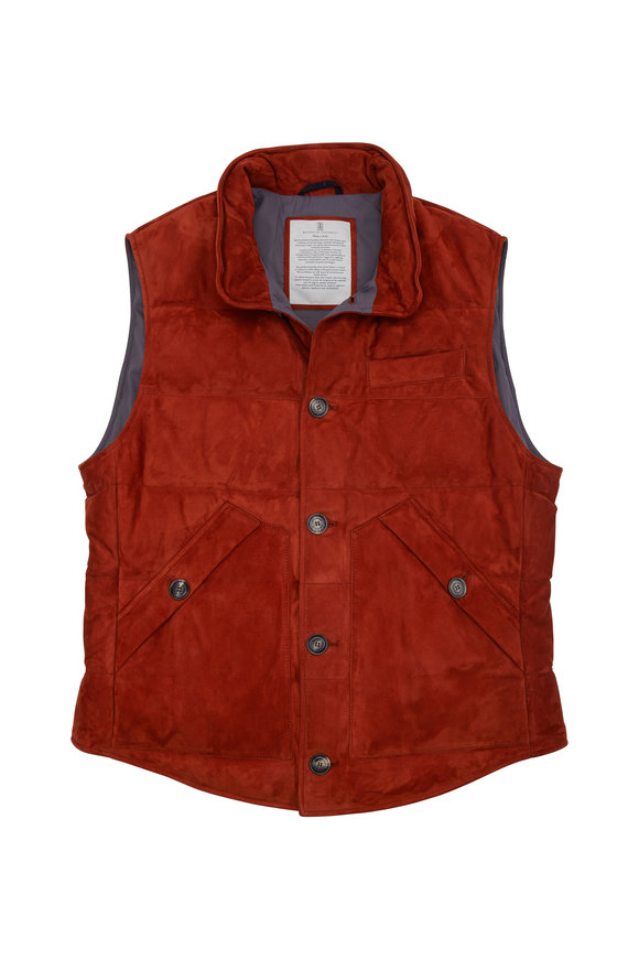 Brunello Cucinelli Burnt Orange Suede Vest
