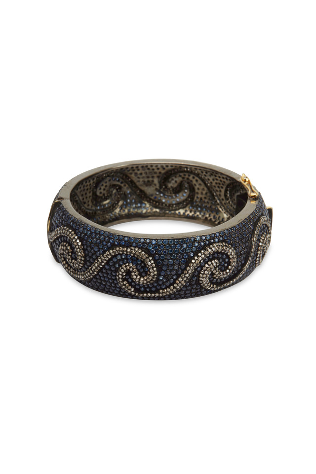 Gold Blue Sapphire Diamond Waves Bracelet