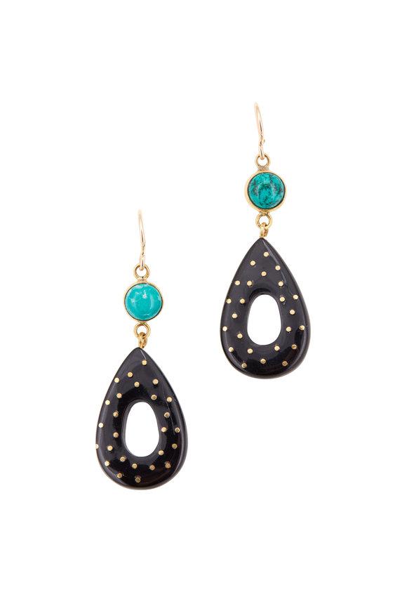 Ashley Pittman Bronze, Dark Horn & Turquoise Teardrop Earrings