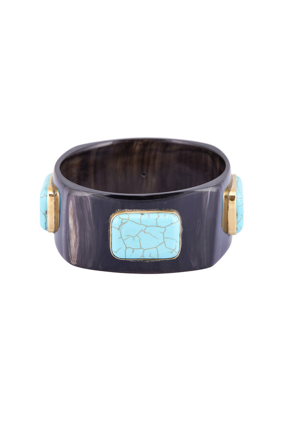 Ashley Pittman Dark Horn, Bronze & Turquoise Kutega Bangle