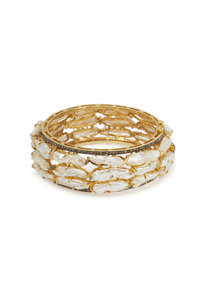 Loriann - Yellow Gold Thick Stick Pearl Bracelet