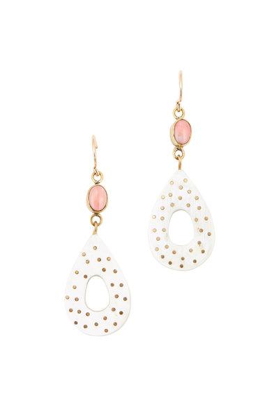 Ashley Pittman - Bronze, Coral & Light Horn Teardrop Earrings