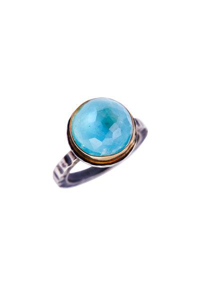Tina Negri - 18K Gold & Silver Blue Quartz & Turquoise Ring
