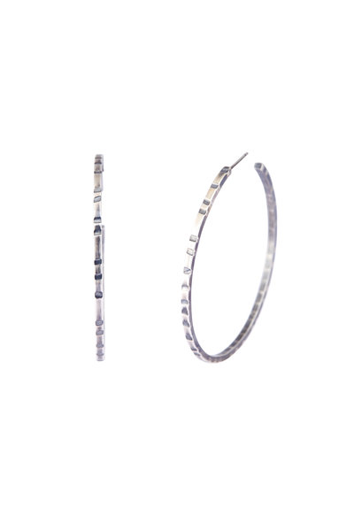 Tina Negri - 18K White Gold & Silver Hoops